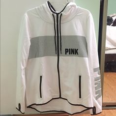 VS Pink white reflective logo full zip Brand new, never worn, came without tags PINK Victoria's Secret Jackets & Coats