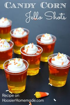 CANDY CORN JELLO SHOTS -- Make these fun Jello Shots with or without alcohol! Both recipes available! Layer the colors to look like candy corn! It's a fun Fall treat! (dessert ideas for party shot glasses) Halloween Cocktails, Halloween Jello Shots, Party Drinks, Fun Drinks, Yummy Drinks, Beverages, Halloween Bebes, Halloween Treats, Halloween Party