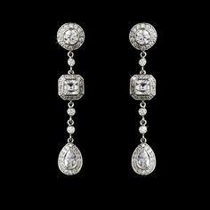 Vintage Inspired CZ Drop Wedding Earrings