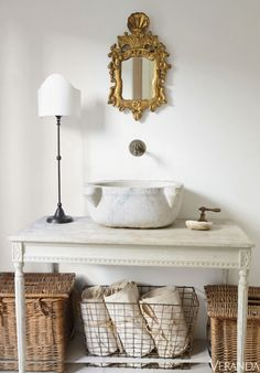 French Country bathroom by Brooke & Steve Gianetti