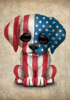 Cute Puppy Dog with flag of The United States by Jeff Bartels