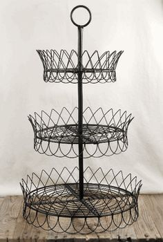 Black Wire 3-Tier 30 in. Pastry Tray
