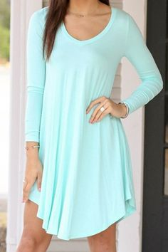 Light Blue Long Sleeve A Line Dress