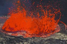 Large lava fountain in the middle of the lava lake of Erta Ale, Danakil desert, Ethiopia.