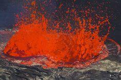 Large lava fountain in the middle of the lava lake of Erta Ale, Danakil desert, Ethiopia.