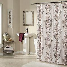 ikat plume shower curtain in eggplant purple | shhower curtains