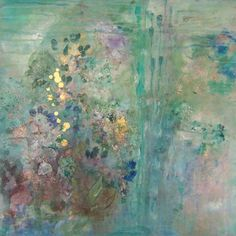 Original Abstract Acrylic Emerald Green Floral Garden Painting Floating Amidst  by Sheri 24x24x2 / 61cmx61cm