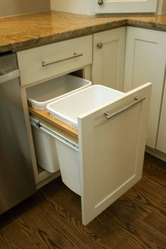 Out-of-sight and out-of-mind.  Trash and recycling bins are kept organized inside kitchen cabinets with this convenient pull-out cabinet.