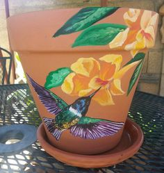 """8"""" Hand painted clay pot"""