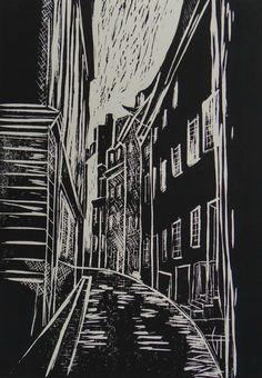 Montmartre - Paris - Linogravure - Géraldine THEUROT - artiste-peintre