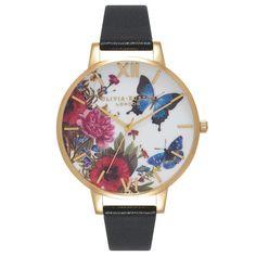 Olivia Burton Enchanted Garden Butterflies Black & Gold Watch