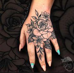 Top 73 Best Hand Tattoos for Women - [2020 Inspiration Guide] Pretty Hand Tattoos, Hand And Finger Tattoos, Mandala Hand Tattoos, Hand Tattoos For Girls, Rose Hand Tattoo, Finger Tattoo For Women, Beautiful Tattoos, Tattoos On Hand, Hand Tats