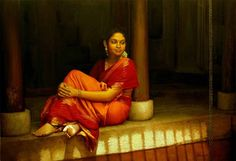 Tamil girl relaxing in her house court yard - Painting by S. Elayaraja