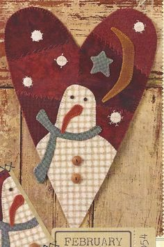 Primitive Folk Art Wool Applique Pattern:  FEBRUARY (WOOL CRAZY Series). $8.75, via Etsy.
