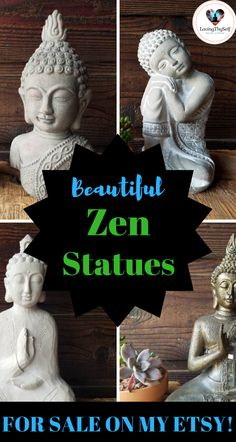 beautiful vintage look zen (buddha, elephant, and ganesha) statues for sale on my etsy shop: lovingthyself. These statues are the perfect decor for your room, meditation room, indoor decor, garden, office decor, boho decor, and yoga room! https://lovingthyself.net/etsy-shop/