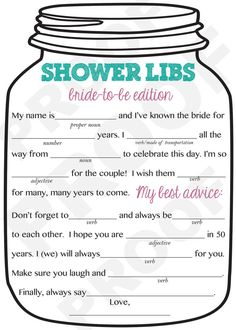Bridal Shower Game-- Mason Jar Theme Shower Game, Mad Libs for the Bride to Be-Customization NOT Included.Please do this for my bridal shower Wedding Shower Games, Bridal Shower Party, Wedding Games, Wedding Ideas, Wedding Venues, Bridal Showers, Bridal Games, Wedding Speeches, Wedding Planning Ideas