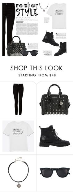 """Rocker Chic"" by katsin90 ❤ liked on Polyvore featuring Alexander Wang, Alexander McQueen, Yves Saint Laurent, Giuseppe Zanotti, Vanessa Mooney, Avenue, rockerchic and rockerstyle"