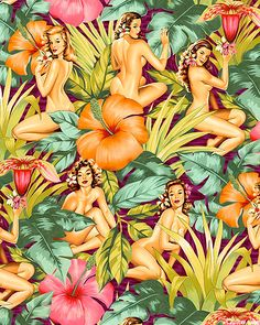 mirage tropical pinup girls in violet