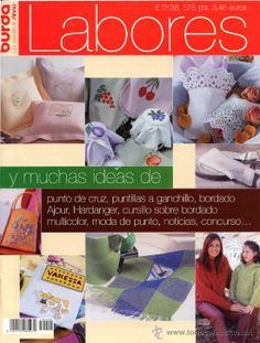 Revista *BURDA  Anna LABORES* Año 1999. Punto de Cruz · Ganchillo · Bordados · Punto -- Vintage