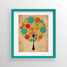 Colorful Fork Bubble Tree 8x10 Digital Illustration Print, Kitchen Art, Dining Room Art, Organic, Textured, Simple, Modern Wall Art Decor