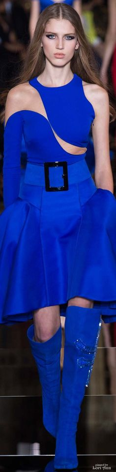 Atelier Versace Couture Spring 2015 cobalt-blue cutout cocktail gown.