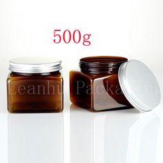 12 X brown 500ml jars PET plastic empty cosmetic containers ,17.5 OZ aluminum…
