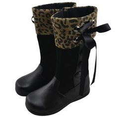 Girl's Leather Long Cheetah Boots w/Ribbon on mysale.com