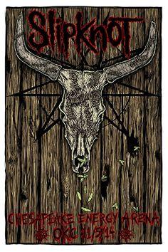 Slipknot Oklahoma Poster by Heavy Metal Rock, Heavy Metal Bands, Dark Images, Best Rock, Slipknot, Band Posters, Concert Posters, Hard Rock, Rock Bands
