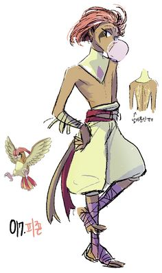 #17. Pidgeotto (humanized/gijinka pokemon series by tamtamdi on tumblr)