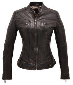 blouson cuir femme, coupe cintrée, col mao, 2 poches poitrine zippées, 2  poches biais zippées, fantaisie au niveau de la ceinture 211f1199121