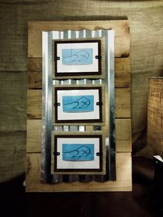 Triple Picture Frame // Pallet Wood // Tin // Rustic // 4x6. $46.00, via Etsy.