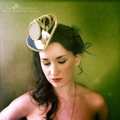 Pin up sailor costume mini tricorn hat, nautical headpiece, red, blue, gold, stripe hair band READY TO SHIP