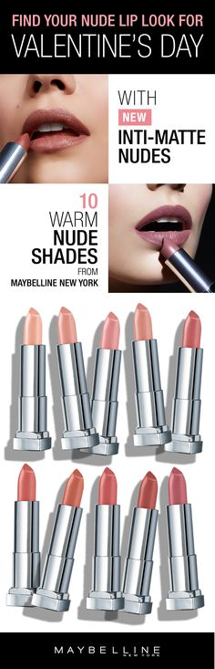 Complete your date night makeup look for Valentine's Day with the new Maybelline Inti-Matte Nudes Lipsticks.  Available in 10 warm, golden toned shades, you're sure to find a lipstick that will go with your Valentine's Day makeup look.