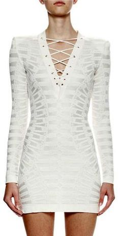 'Ambrosia' Long Sleeve Lace Up Jacquard Sheath Dress - White