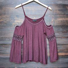 vintage acid wash cold shoulder boho shirt (more colors) - shophearts - 1