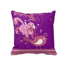 Pink Abstract Bird on Purple Throw Pillow