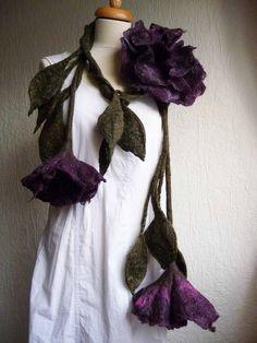 felted wool flower / leaf necklace