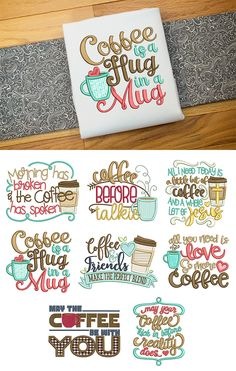 Coffee Word Art Set by JuJu Exclusive and 8 word art designs for your morning cup of joe! Border Embroidery, Learn Embroidery, Embroidery Stitches, Hand Embroidery, Geometric Embroidery, Embroidery Scissors, Embroidery Jewelry, Embroidery Ideas, Design Set