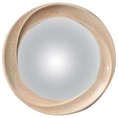Hand-Carved Limed Oak Mirror by Carol Egan | From a unique collection of antique and modern convex mirrors at http://www.1stdibs.com/furniture/mirrors/convex-mirrors/