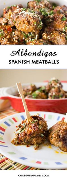 Albondigas - Spanish Meatballs Make these classic Mexican meatballs at home with this recipe and serve them up as appetizers, the main course with a spicy red sauce, or in soup. It's a traditional Mexican comfort food with Spanish roots and they're incr