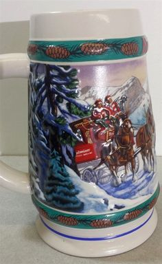 Wonderful colors and will look great in your display collection. Colors are bright and vivid. Clydesdale Horses, Beer Stein, Special Delivery, Drinkware, Madness, Cups, Collections, Bright, Display