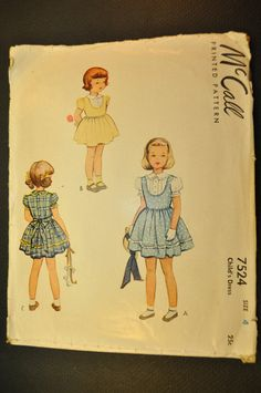 Child's Dress Pattern Size 4 Vintage 1940s Sewing by ClassicCabin
