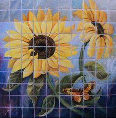 Título: Los Girasoles del Azulejo. Autor :Edmundo Alvarez. Impresiones en canvas firmadas por el autor y numeradas. Medidas: Pregunta por el precio.