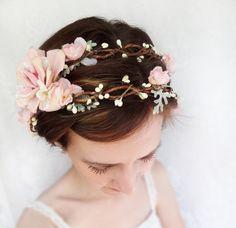 romantic pink flower bridal headpiece, flower crown, wedding hair wreath - LAMBS EAR - pale green and ivory via Etsy