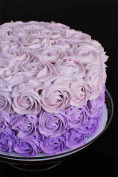 Great tutorial on piping roses, along with a recipe and hints for baking an ombre cake. Use these colors on the barbie dress Purple Desserts, Purple Cakes, Cupcakes, Cake Cookies, Cupcake Cakes, Mini Cakes, Pretty Cakes, Beautiful Cakes, Amazing Cakes