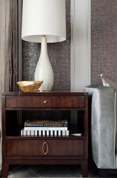 Living Room designed by Elizabeth Metcalfe Interiors & Design Inc. www.emdesign.ca - featuring the Barbara Barry Swan Line Table Lamp from Baker Furniture