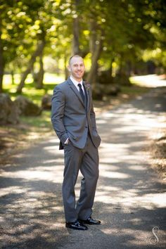 Wedding Portraits by Shanti DuPrez / Rustic Elegance Outdoor Wedding / Groom in grey suit