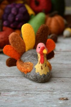 Thanksgiving Turkey fall decor needle felted by BearCreekDesign