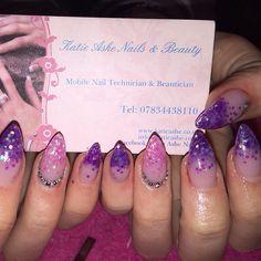 Purple and pink glitter acrylic nails