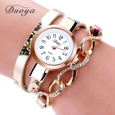 Duoya Fashion Women Brand Rose Dress Leather Gold Bracelet Wristwatch Flowers Casual Ladies Women Bracelet Quartz Wrist Watches